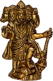 Purpledip Hindu Religious Lord Hanuman/Bajrangbali Statue in Panch-mukhi Avatar: Sculpted in Solid Brass Metal for Home Temple, Office Table or Shop Puja Shelf | Hindu Religious Gift (10377)
