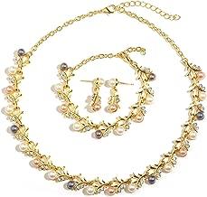 MOOCHI 18K Gold Plated Crystal Necklace Earrings Ring Bracelet Jewelry Set Costume Wedding