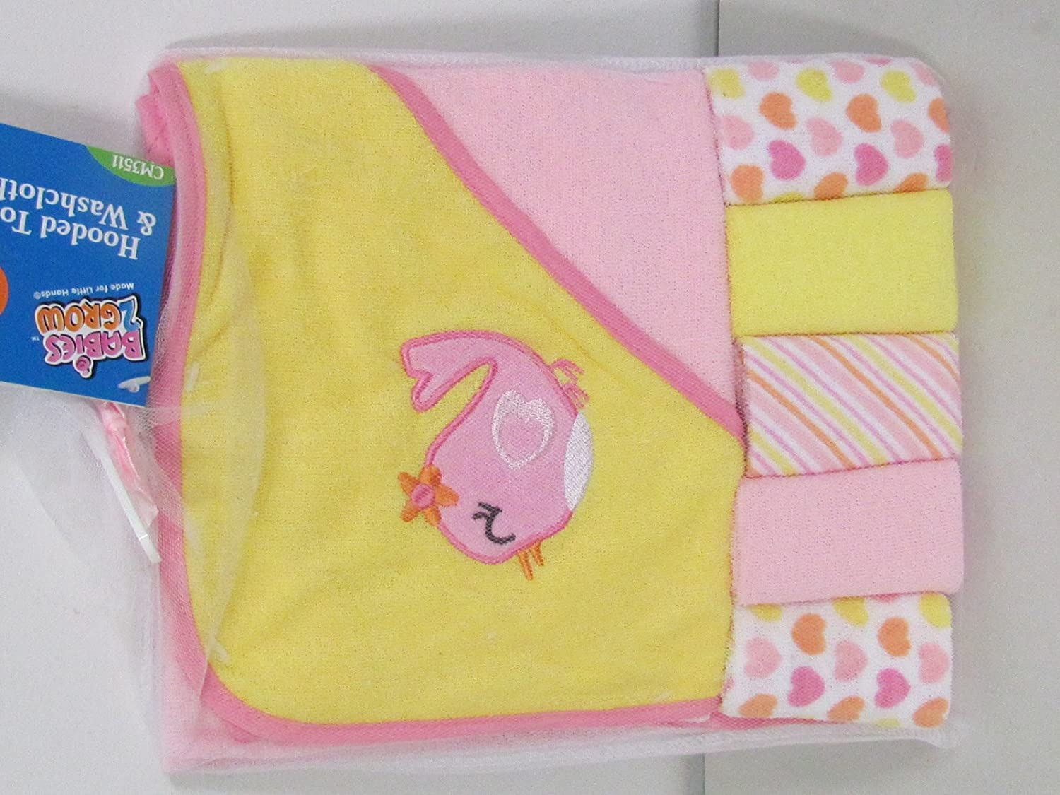 Regent Baby Crib Mates Hooded Towel with 5 Wash Cloths, Blue/Pink