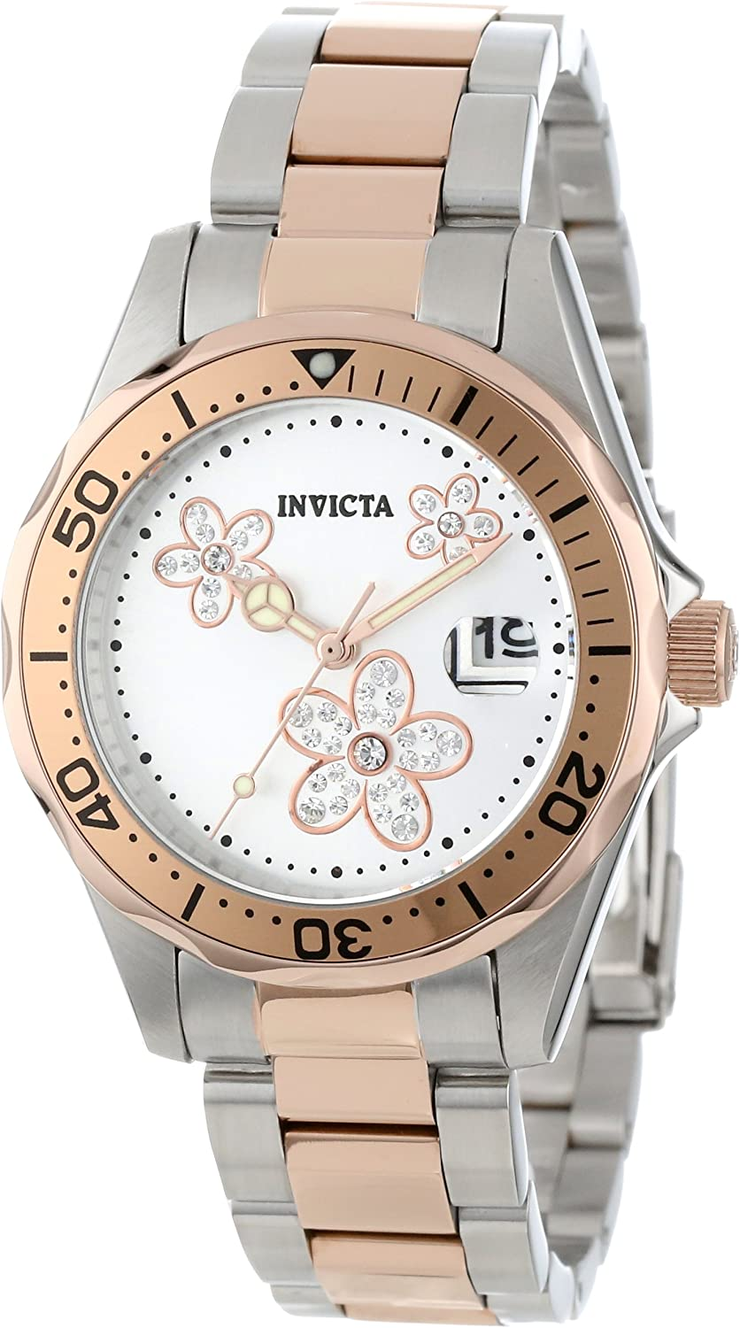 Invicta Women's 12507 Pro Finally Very popular! resale start Diver Dial Silver Two Crystal Accented