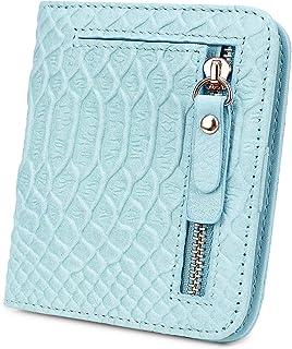 [ヤラックス]YALUXE レディース RFID ブロッキング 小型 蛇紋模様 レザー ウォレット ミニ パース IDウィンドウ付き ブルー