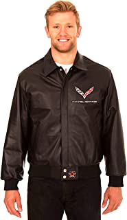 Chevy Corvette Men's Black Leather Bomber Jacket With Embroidered Applique Logos (2X)