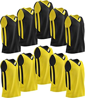 Pack of 10 Reversible Men's Mesh Performance Athletic Basketball Jerseys - Blank Team Uniforms for Sports Scrimmage Bulk
