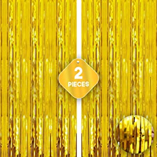 XtraLarge Gold Fringe Curtain Backdrop - 3.2x10 Feet   Pack of 2   Gold Metallic Tinsel Backdrop For Birthday, New Year, G...