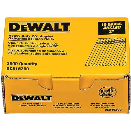 DEWALT Finish Nails, 20-Degree, 2-Inch, 16GA, 2500-Pack (DCA16200)