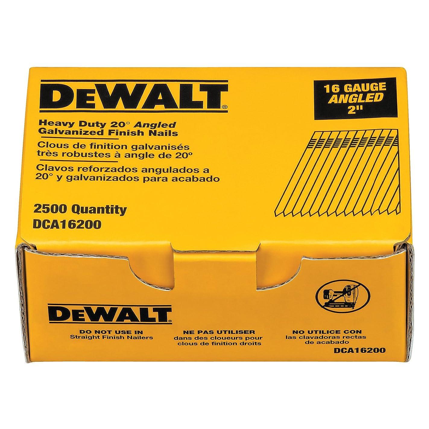 DEWALT DCA16200 2-Inch by 16 Gauge 20-Degree Finish Nail (2,500 per Box)