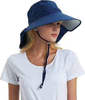 Einskey Women's Sun Hat Foldable Cotton UV Protection Wide Brim Safari Hiking Hat Outdoor Beach Fishing Hat with Neck Protection