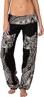 Smocked Boho Harem Pants for Women - Hippie Bohemian Casual Gypsy Print, Ideal Yoga Pant - Baggy Harem Pants