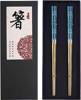Metal Chopsticks Titanium Plated Stainless Steel Chopsticks Reusable Dishwasher safe Japanese Korean Chopstick lightweight Laser Engraved Anti-slip Chop sticks for Eating 2 Pairs Gift Set Blue Gold