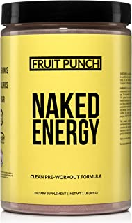 Fruit Punch Naked Energy – Fruit Punch Flavored All Natural Pre Workout Supplement for Men and Women, Vegan Friendly, No A...