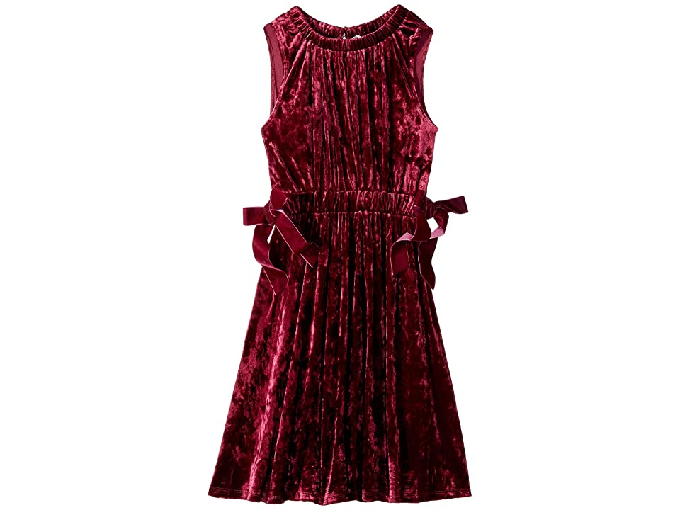HABITUAL girl Denise Crushed Velvet Velour Dress (Big Kids) (Burgundy) Girl