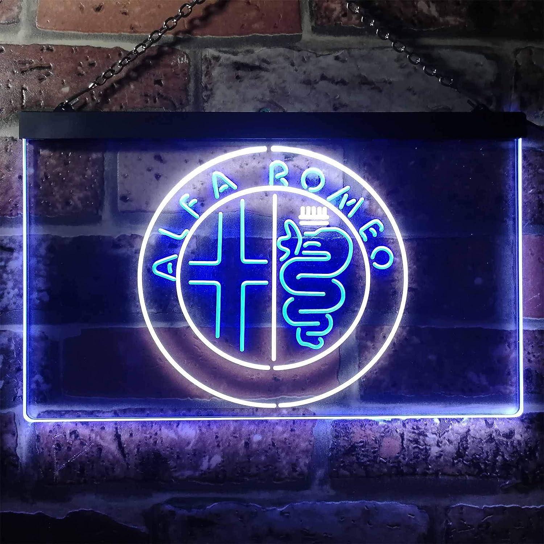 Zusme Alfa Romeo Car Garage Bar Novelty LED Neon Sign Weiß + Blau W40cm x H30cm