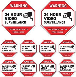Video Surveillance Sign 10 Pack, CCTV 24 Hour Warning Sticker Door Window Yard Sign, Indoor & Outdoor Use (2-6x6