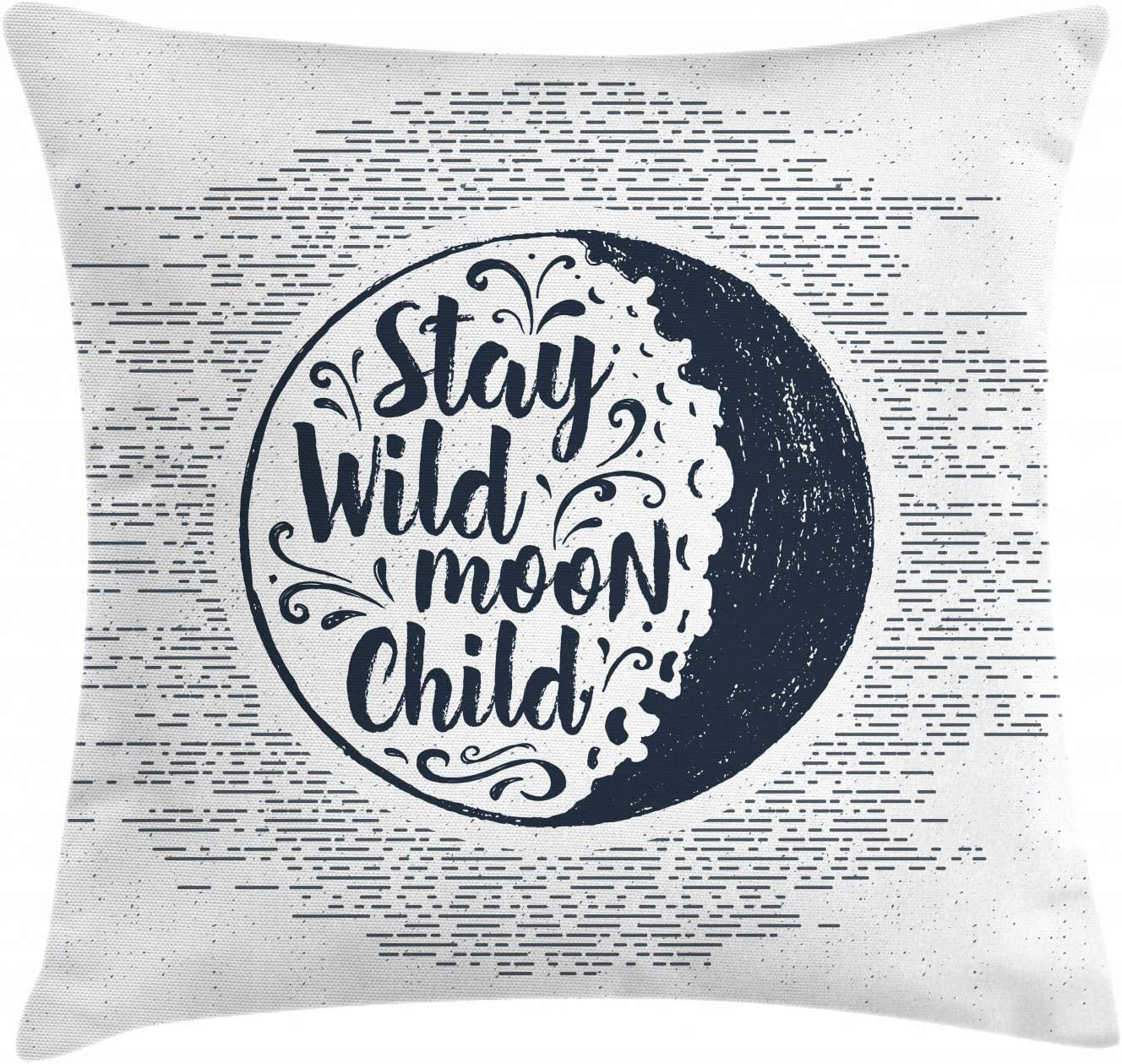 Amazon Com Ambesonne Stay Wild Moon Child Throw Pillow Cushion Cover Words In A Circle With Curls And Dashed Lines Decorative Square Accent Pillow Case 18 X 18 Dark Night Blue Pale Grey