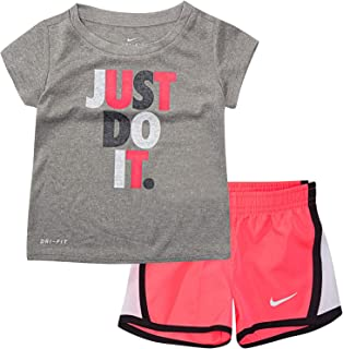 Nike Just Do It Infant Girls 2 Piece Shirt and Shorts Set Racer Pink/Gray Size 18 Months