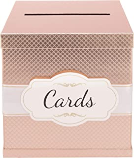 Rose Gold Card Box - Gold-Foil Satin Ribbon & Cards Label - 10