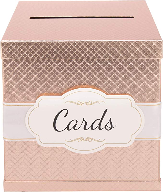 Rose Gold Card Box Gold Foil Satin Ribbon Cards Label 10 X10 Large Premium Finish Perfect In Wedding Receptions Birthdays Graduations Bridal Baby Showers By Merry Expressions