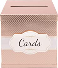 Rose Gold Card Box - Gold-Foil Satin Ribbon & Cards Label - 10