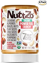 Nuttzo Organic Crunchy Paleo Power Fuel Seven Nut and Seed Butter, Peanut Free, 12 oz, 4 Pack