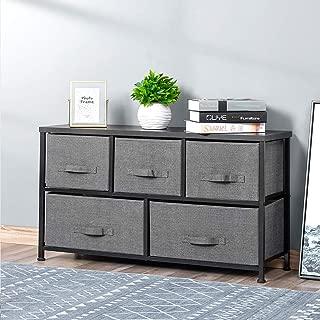 Drawer Dresser Storage Organizer 5-Drawers for Closet, Sturdy Steel Frame Wood Top, Easy Pull Dresser Fabric Bins, Organizer Unit for Bedroom, Hallway, Entryway, Charcoal Grey