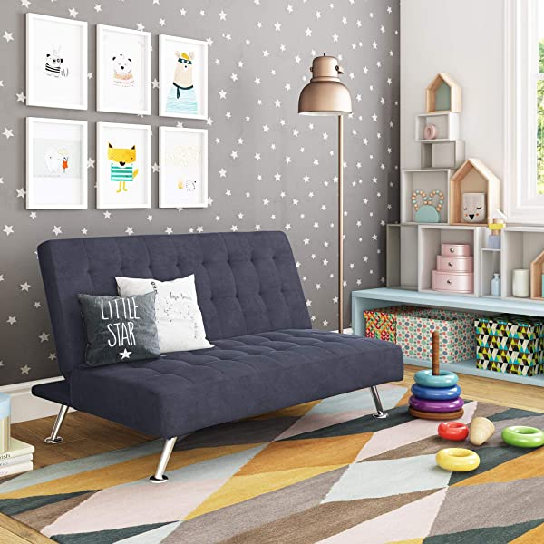 DHP Ariana Kids Sofa Futon Converts From Futon To Bed For Kids Blue