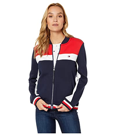 Tommy Hilfiger Adaptive Fleece Track Jacket (Masters Navy/High Risk Red/Bright White) Women