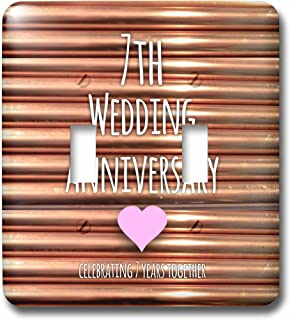 3dRose lsp_154436_2 7Th Wedding Anniversary Gift Copper Celebrating 7 Years Together Seventh Anniversaries Seven Light Switch Cover