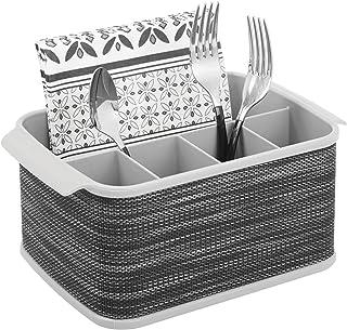 mDesign range couverts avec poignées – boîte de rangement décorative pour cuisine, salle à manger, jardin ou pique-nique –...