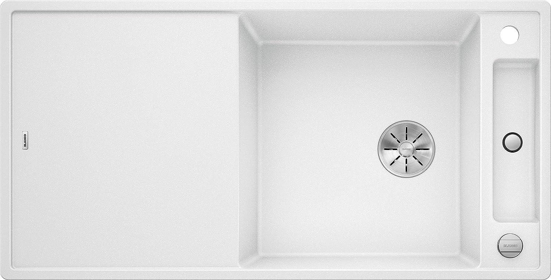 Weiß Axia III XL 6 S, Küchenspüle aus Silgranit PuraDur, reversibel, Wei   mit InFino-Ablaufsystem, inklusiv Glasschneidbrett und Ablauffernbedienung; 523514