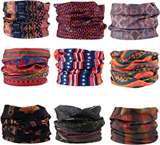9PCS Seamless Headband Bandanas for Men Women Headwear-Versatile Neck Gaiter, Headwrap,Scarf, Balaclava, Helmet Liner, Face Mask - Camping, Running, Cycling, Fishing UV Resistance Headwear