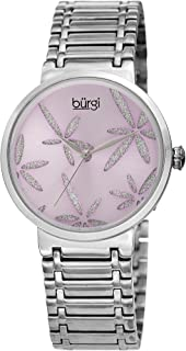 Burgi Women's BUR190 Sparkling Flower Accented Watch - Stainless Steel Bracelet Watch - Gift Box Included