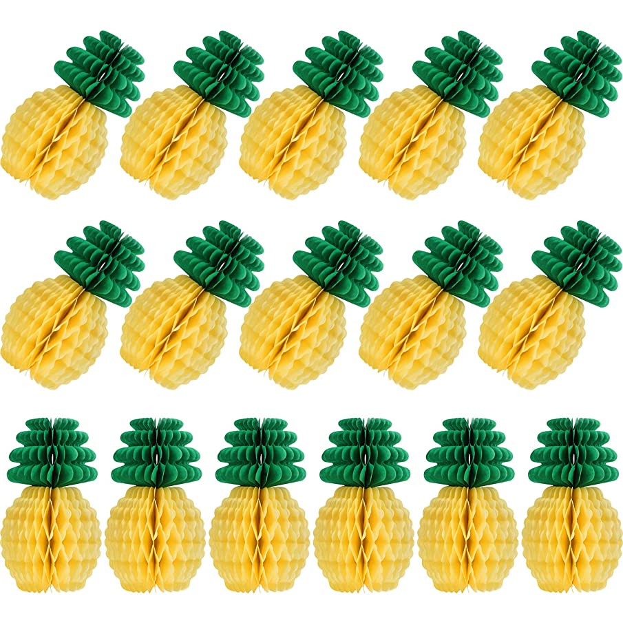 Pineapple Honeycomb Centerpieces Tissue Paper Pineapple Party Supplies Table Hanging Decoration Hawaiian Luau Party Birthday Wedding Home Favor (8 Inch, 16 Packs)