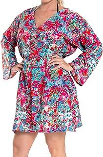 LA LEELA Women's Midi Caftan Casual Dress Night Gown Beach Cover Ups Short Midi