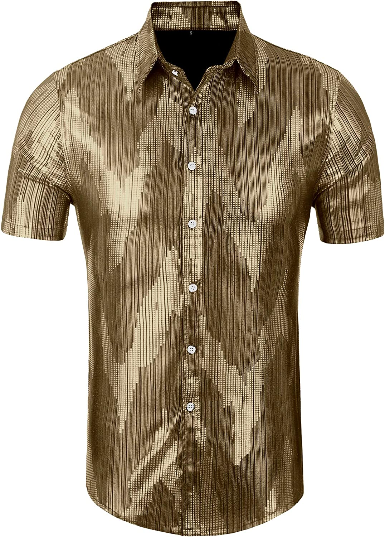 Daupanzees quality assurance Mens Dress Shirt Short Luxury National uniform free shipping Sequins Sleeve Fashion