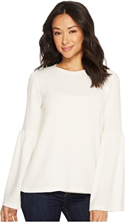 Michael Stars - Madison Brushed Long Sleeve Open Neck with Bell Sleeve