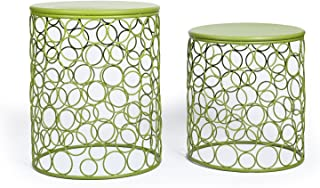 Adeco Round Nesting Side Stool and End Table Set - Lime Green Metal - Height End Table 20 Inches, Side Stool 17 Inches - Set of 2