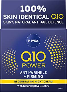 NIVEA Q10 Power Anti-Wrinkle + Firming Night Cream (50 ml), Nightly Anti Ageing Moisturising Face Cream with Q10 & Creatine