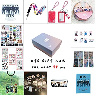 BTS Gifts Set for Army 97 pcs Bantan Boys World Box Include Postcards Stickers,Gift Case for Daughter Granddaughter (BTS-Box)