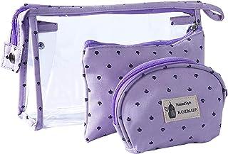 Bolsas de Cosméticos Mujer Bolsa de Maquillaje de Tocador Transparente para Viajes, 3PCS Estuche Organizador de Belleza de Plástico Impermeable para Vacaciones, Púrpura