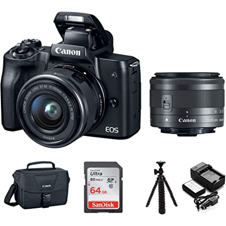 """Canon EOS M50 15-45mm Mirrorless Digital Camera (Black) with Canon EOS Camera Gadget Bag, 64GB SD Card, Flexible 12"""" Spider Tripod, and Battery & Charger Pack Bundle (5 Items)"""