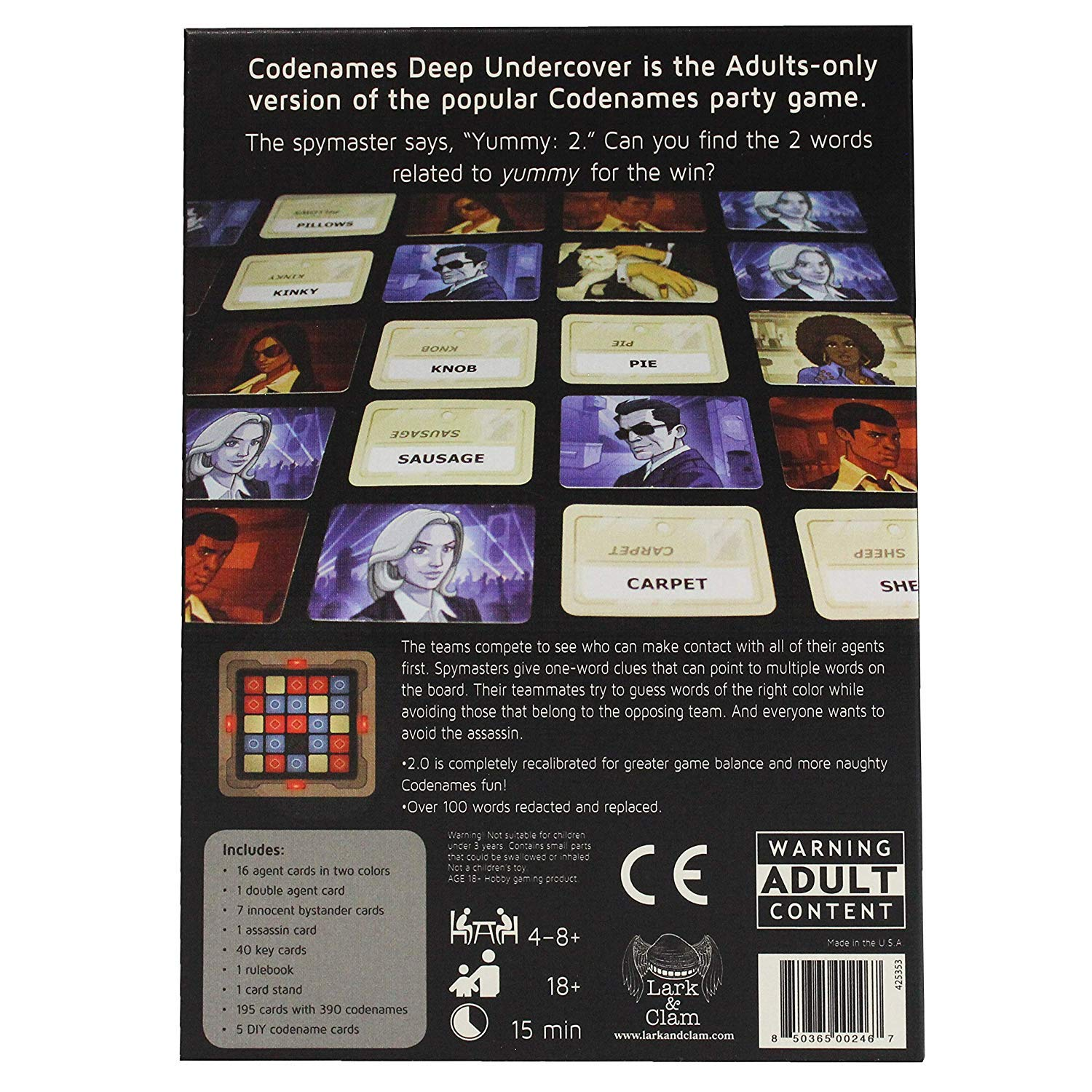Codenames Deep Undercover 2.0 By Lark /& ClamAdult Board//Card Game