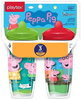 Playtex Sipsters Stage 3 Peppa Pig Spill-Proof, Leak-Proof, Break-Proof Insulated Toddler Spout Sippy Cup - 9 Ounce - 2 Co...