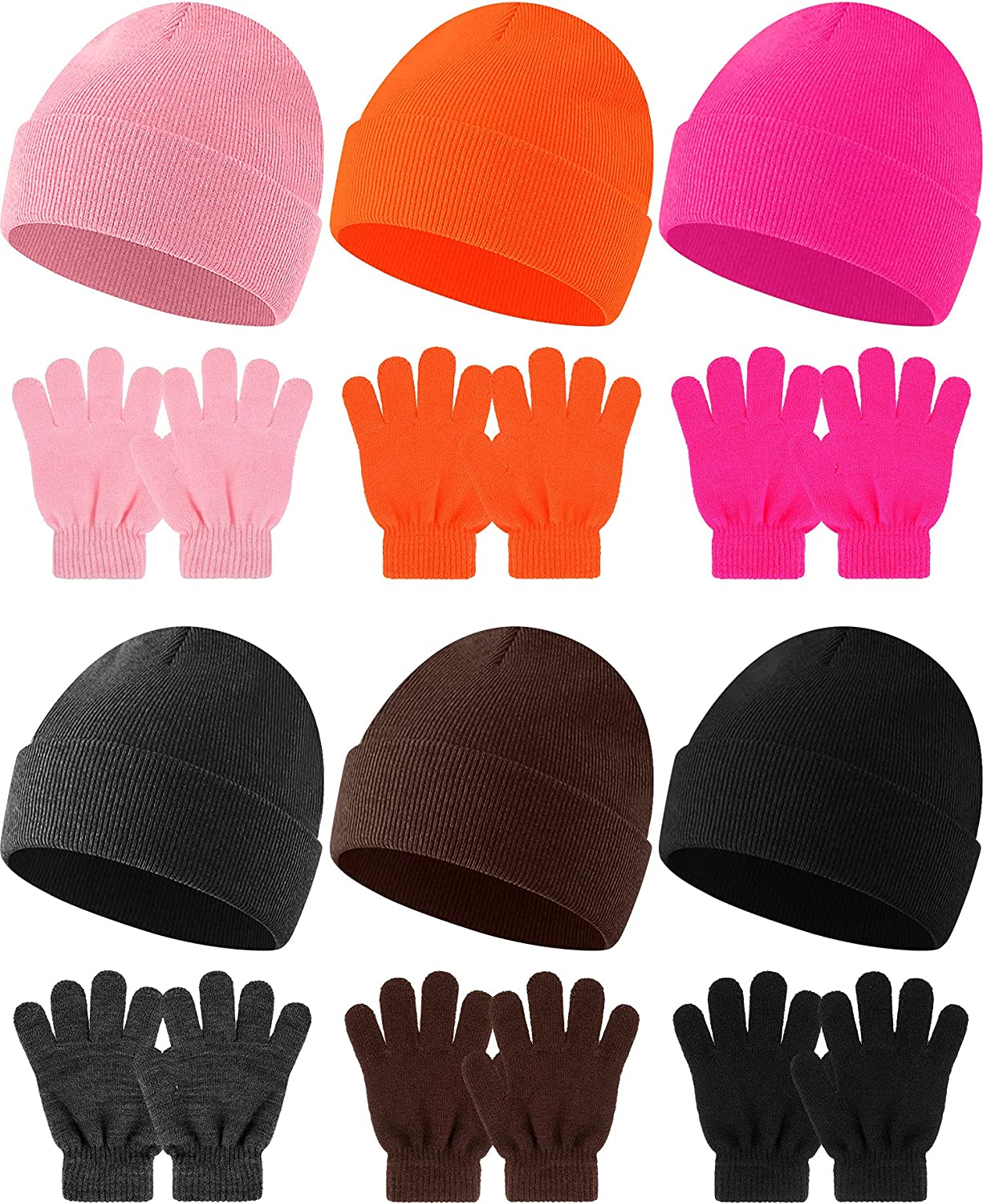 6 Sets Kids Winter Hats and Gloves Set Girls Boys Knit Beanie Hat Winter Warm Hats and Mittens Gloves Cold Weather Hats and Toddlers Mittens for Children Kids Babies