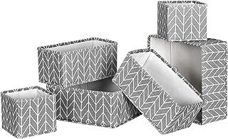 SONGMICS Organiseurs de Tiroir, Séparateur de Coiffeuse, Lot de 6, Boîte de Rangement Pliable en Tissu pour Chaussettes, s...