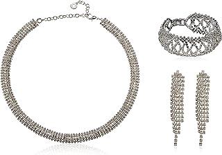 Anne Klein Juego de Collar y Pulsera de Mujer Color Plata -Aleación con Acero Inoxidable - Joyería Oficial