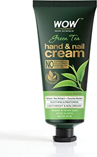 WOW Skin Science Green Tea Hand & Nail Cream - Soothing & Restoring - Lightweight & Non-Greasy - Quick Absorb - For All Sk...