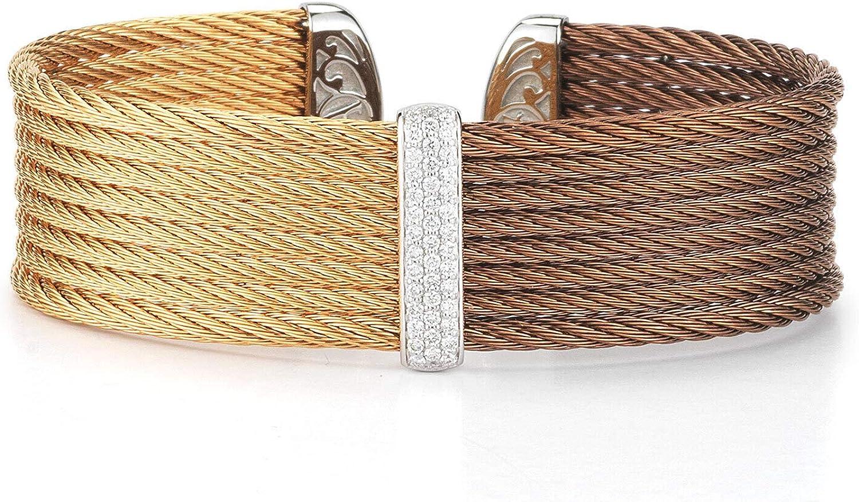 Alor Bronze & Rose Cable Medium Colorblock Cuff with 18kt White Gold & Diamonds