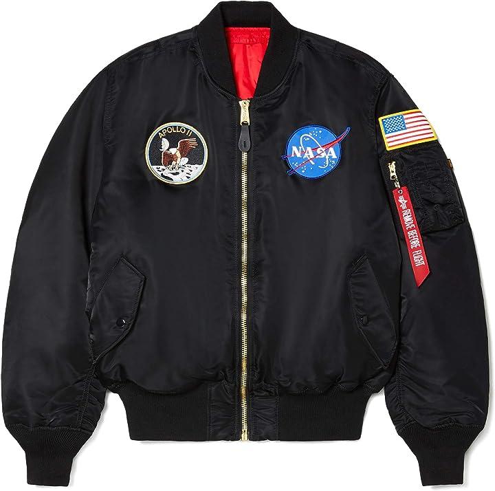 Giacca nasa - alpha industries, giacca bomber da uomo, modello nasa apollo ma-1  black x-small MJM21097C1
