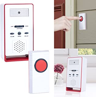 Doorbell – Wireless Electronic Battery Operated Alert System with LED Indicator, 180 Meter Range, 36 Chimes and 9 Alarm Sound Settings by Stalwart