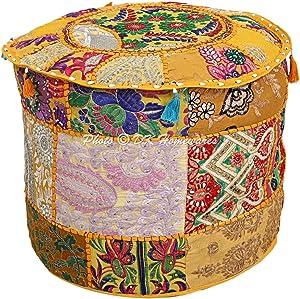 DK Homewares Indischer runder Hocker Patchwork aus bestickter Baumwolle mit abnehmbarem Sitzbezug Osmanische Fußstütze | (18x18x13 Zoll / 45 cm) NUR ABDECKEN